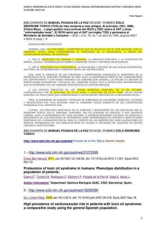 SOBRE EL SÍNDROME DEL ACEITE TÓXICO Y EL ISCIII. MANUEL POSADAS. RESPONSABILIDADES POLÍTICAS Y SANITARIAS. REINO DE ESPAÑA...