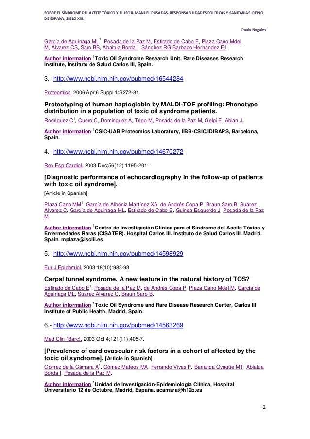 SÍNDROME DE ACEITE TÓXICO - TOXIC OIL SYNDROME - SPAIN- desde 1981 sin respuesta- Bibliografía de manuel posada de la paz en ncbi pubmed Slide 2