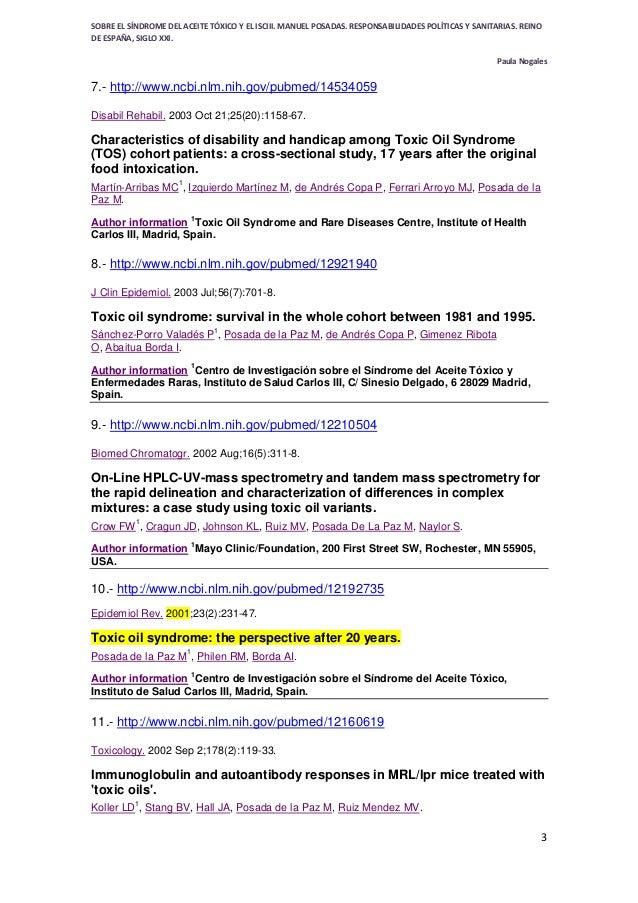 SÍNDROME DE ACEITE TÓXICO - TOXIC OIL SYNDROME - SPAIN- desde 1981 sin respuesta- Bibliografía de manuel posada de la paz en ncbi pubmed Slide 3