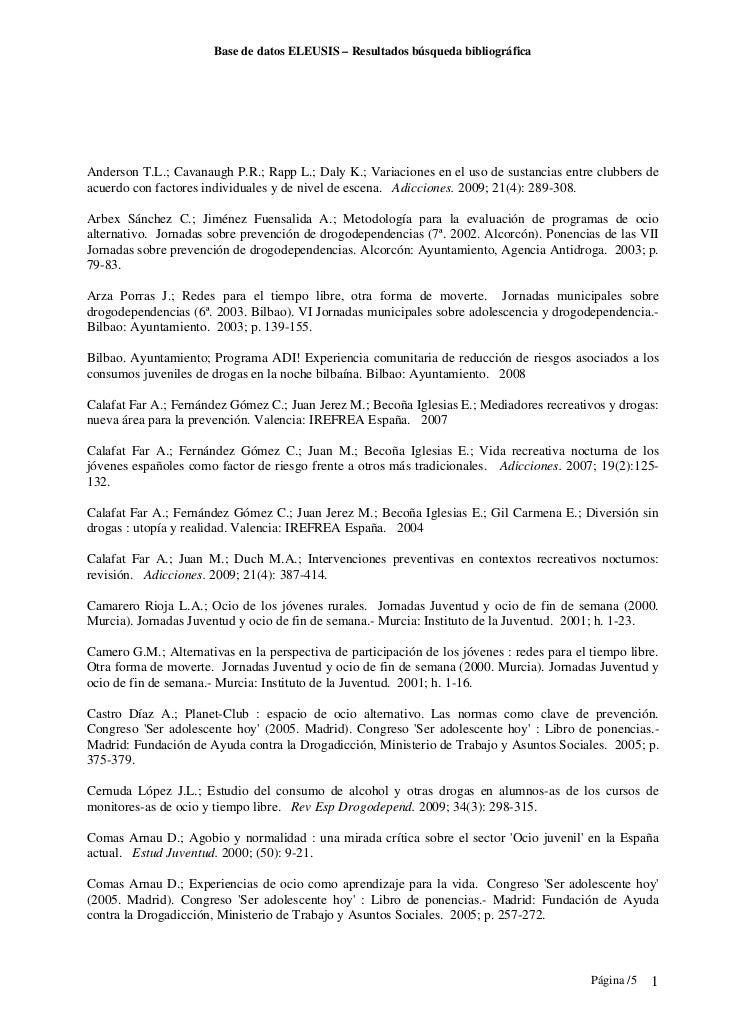 Base de datos ELEUSIS – Resultados búsqueda bibliográficaAnderson T.L.; Cavanaugh P.R.; Rapp L.; Daly K.; Variaciones en e...