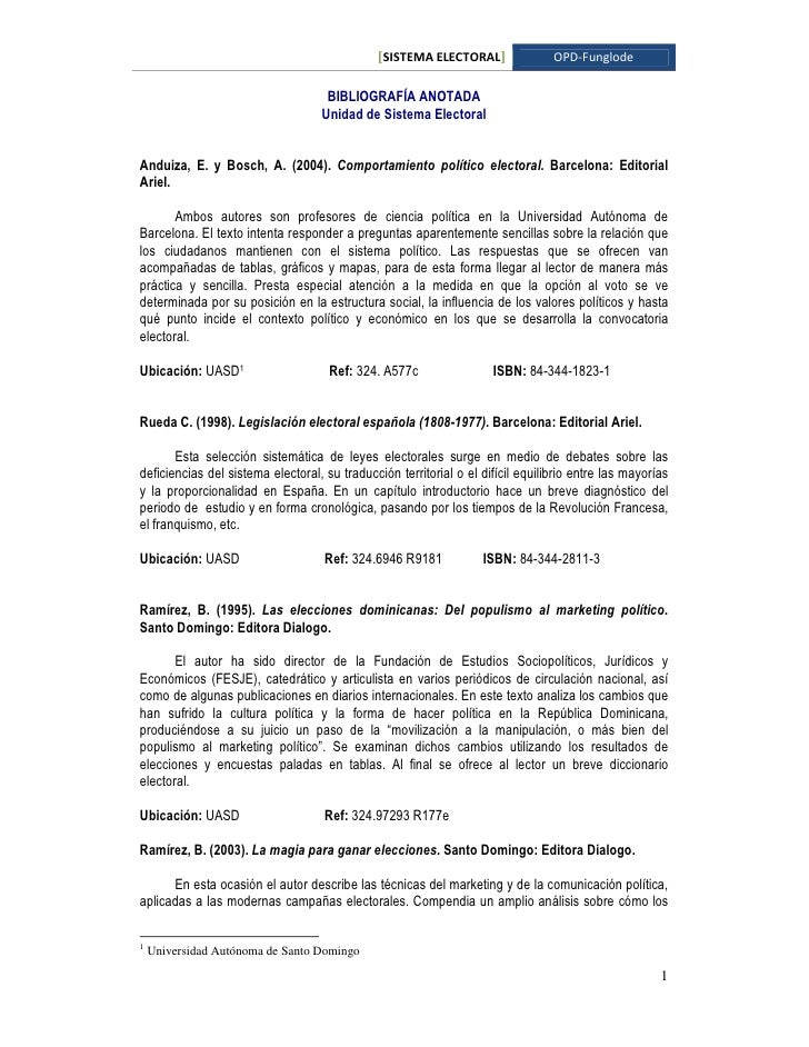 [SISTEMA ELECTORAL]                OPD-Funglode                                      BIBLIOGRAFÍA ANOTADA                 ...