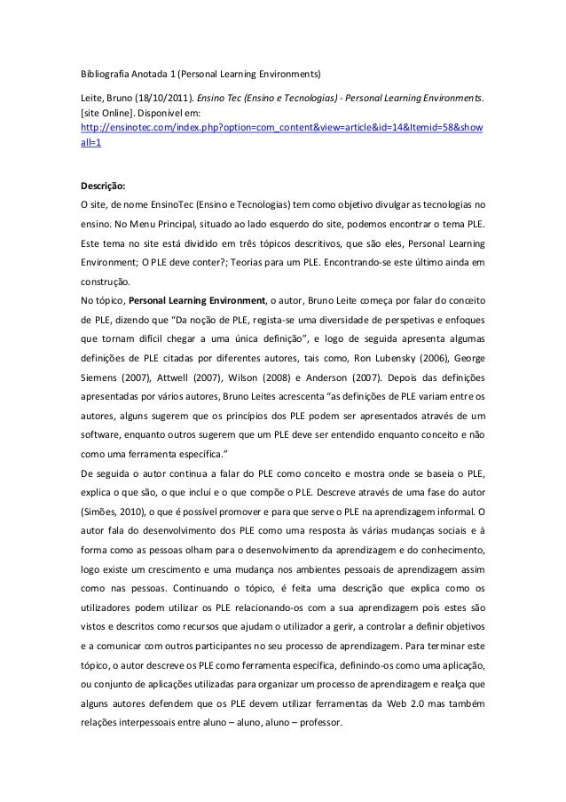 Bibliografia Anotada 1 (Personal Learning Environments)Leite, Bruno (18/10/2011). Ensino Tec (Ensino e Tecnologias) - Pers...