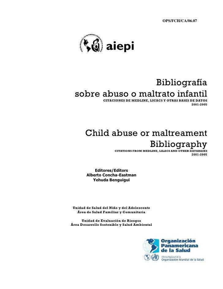 Bibliografia sobre abuso infantil