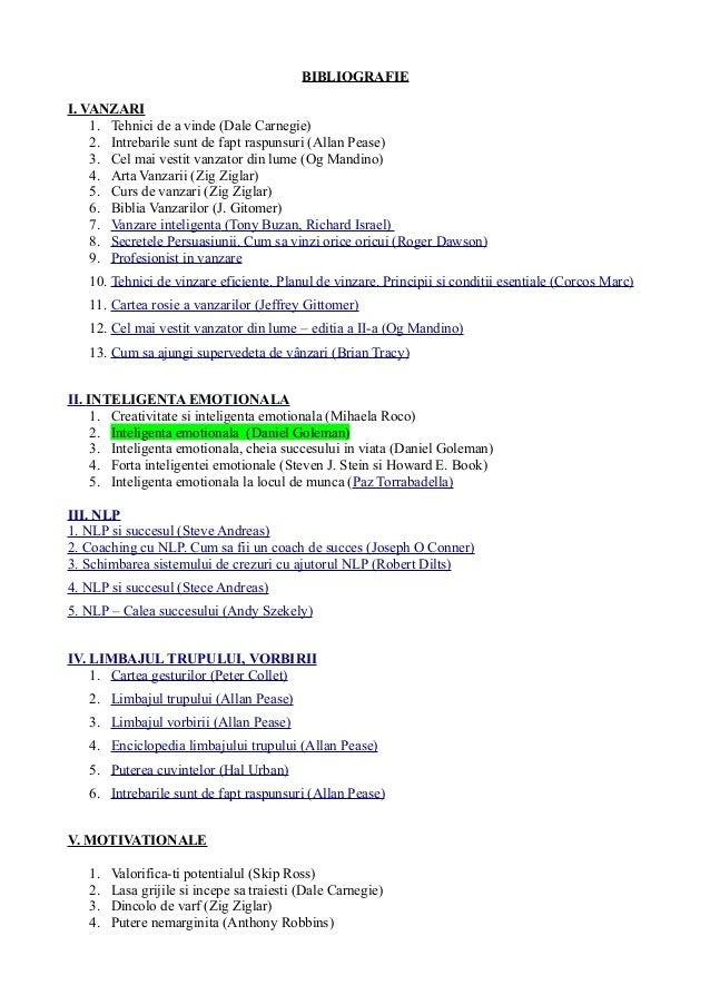 BIBLIOGRAFIE I. VANZARI 1. Tehnici de a vinde (Dale Carnegie) 2. Intrebarile sunt de fapt raspunsuri (Allan Pease) 3. Cel ...