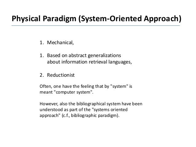 Physical Paradigm (System-Oriented Approach) 1. Mechanical, 1. Based on abstract generalizations about information retriev...