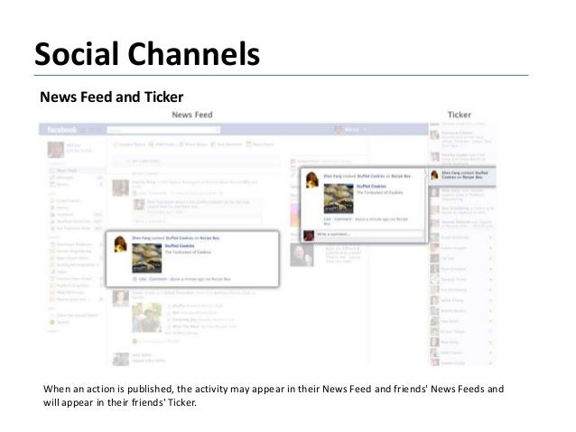 Social Channels News Feed and Ticker When an action is published, the activity may appear in their News Feed and friends' ...
