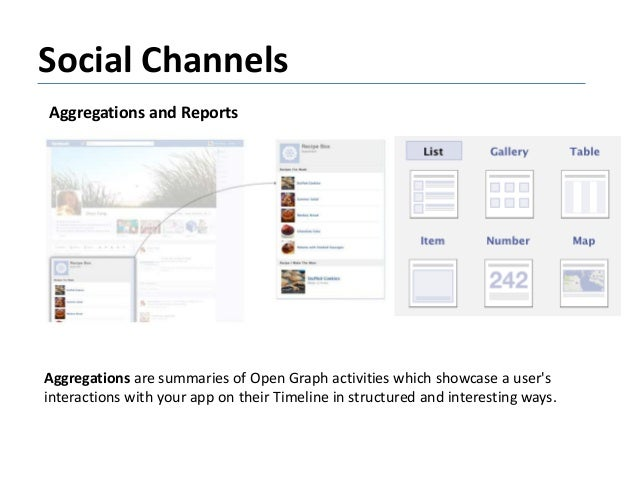 Social Channels Aggregations and Reports Aggregations are summaries of Open Graph activities which showcase a user's inter...