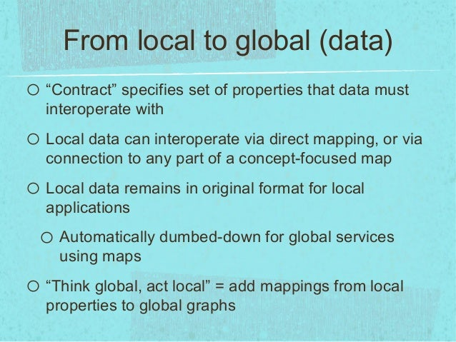 """From local to global (data)o """"Contract"""" specifies set of properties that data mustinteroperate witho Local data can intero..."""