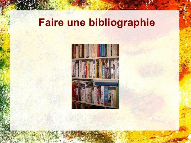 Faire une bibliographie