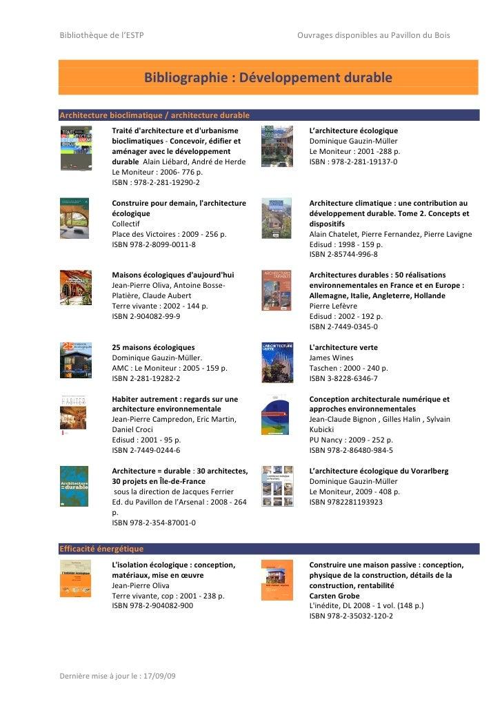 Bibliothèque de l'ESTP                                     Ouvrages disponibles au Pavillon du Bois                       ...