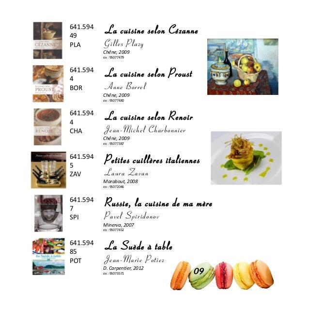 641.594 49 PLA La cuisine selon Cézanne Gilles Plazy Chêne, 2009 ex : 95077479 641.594 4 BOR La cuisine selon Proust Anne ...