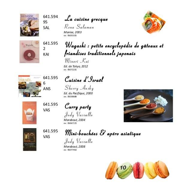 641.594 95 SAL La cuisine grecque Rena Salaman Manise, 2003 ex : 95055555 641.595 2 KAI Wagashi : petite encyclopédie de g...