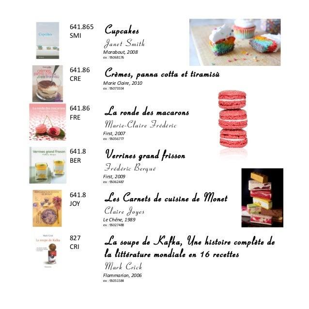 641.865 SMI Cupcakes Janet Smith Marabout, 2008 ex : 95068176 641.86 CRE Crèmes, panna cotta et tiramisù Marie Claire, 201...