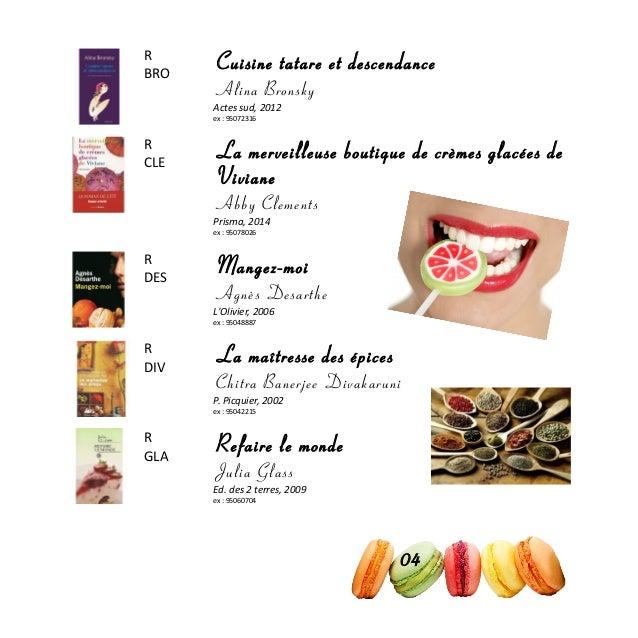 R BRO Cuisine tatare et descendance Alina Bronsky Actes sud, 2012 ex : 95072316 R CLE La merveilleuse boutique de crèmes g...