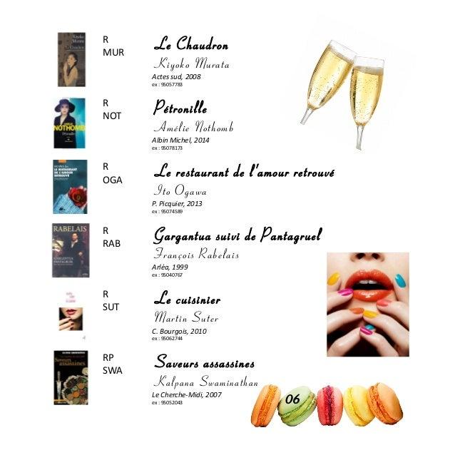 R MUR Le Chaudron Kiyoko Murata Actes sud, 2008 ex : 95057783 R NOT Pétronille Amélie Nothomb Albin Michel, 2014 ex : 9507...