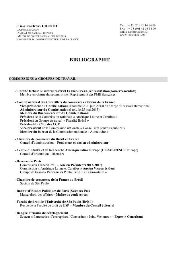 BIBLIOGRAPHIE - Comité technique interministériel France-Brésil (représentation gouvernementale) Membre en charge du secte...