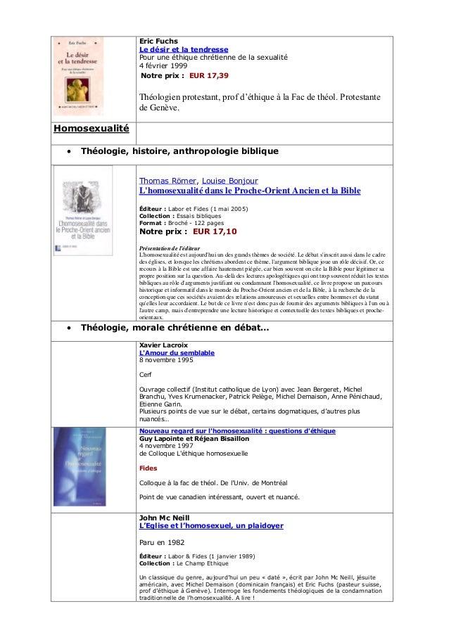 Eric Fuchs Le désir et la tendresse Pour une éthique chrétienne de la sexualité 4 février 1999 Notre prix : EUR 17,39  Thé...