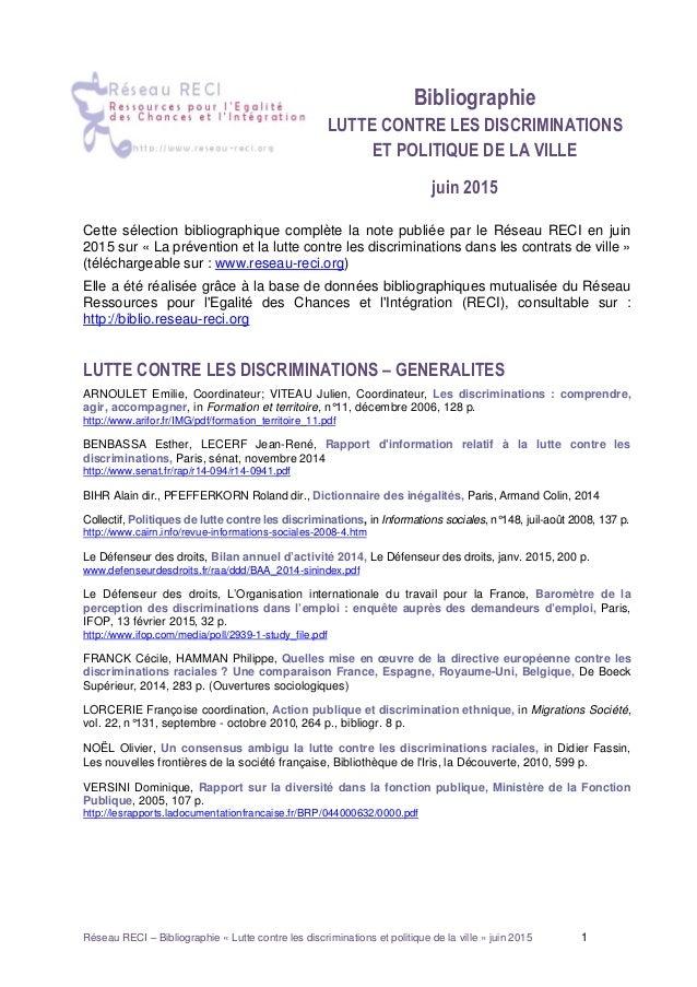 Réseau RECI – Bibliographie « Lutte contre les discriminations et politique de la ville » juin 2015 1 Bibliographie LUTTE ...