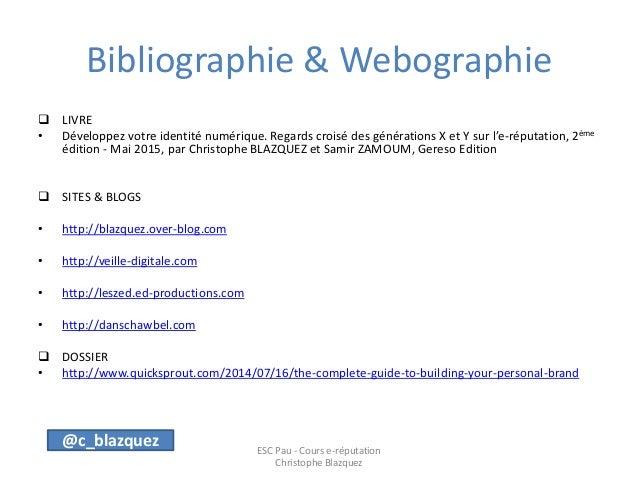 Bibliographie et webographie e-réputation