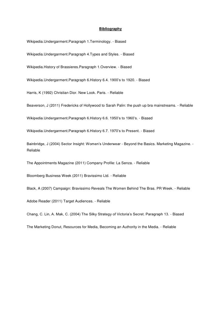 BibliographyWikipedia.Undergarment.Paragraph 1.Terminology. - BiasedWikipedia.Undergarment.Paragraph 4.Types and Styles. -...