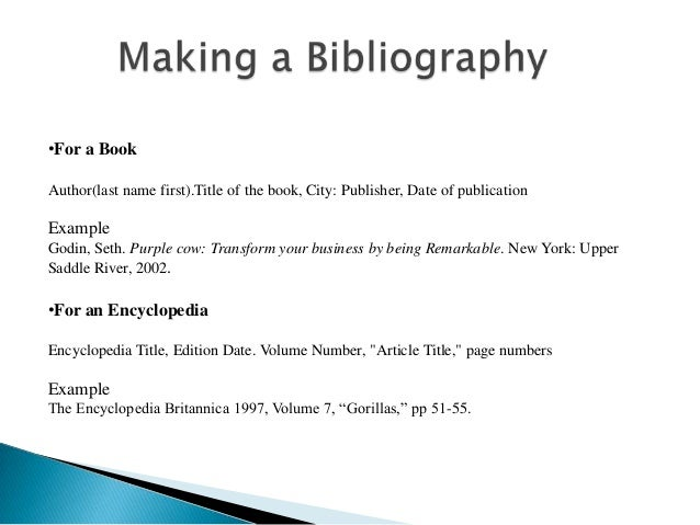 bibliography for an encyclopedia Bibliography 4: general reference works from the chicago manual of style online.