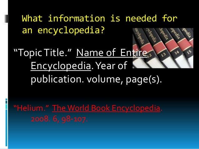 how to write a bibliography for an encyclopedia