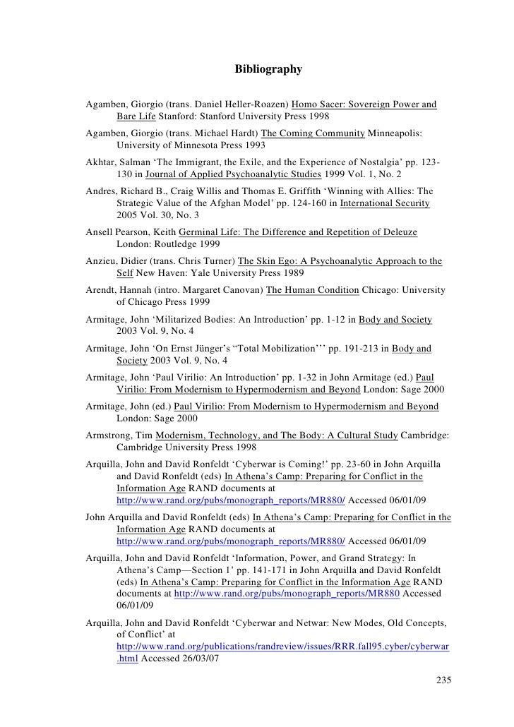 Bibliography<br />Agamben, Giorgio (trans. Daniel Heller-Roazen) Homo Sacer: Sovereign Power and Bare Life Stanford: Stanf...