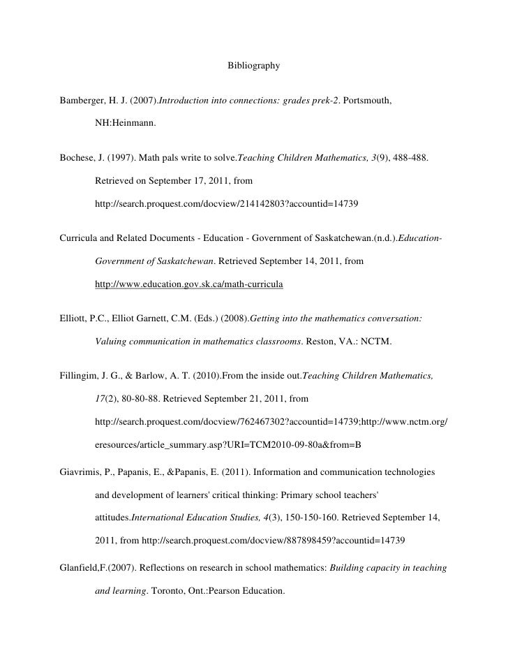 Bibliography<br />Bamberger, H. J. (2007). Introduction into connections: grades prek-2. Portsmouth, NH:Heinmann.<br />Boc...