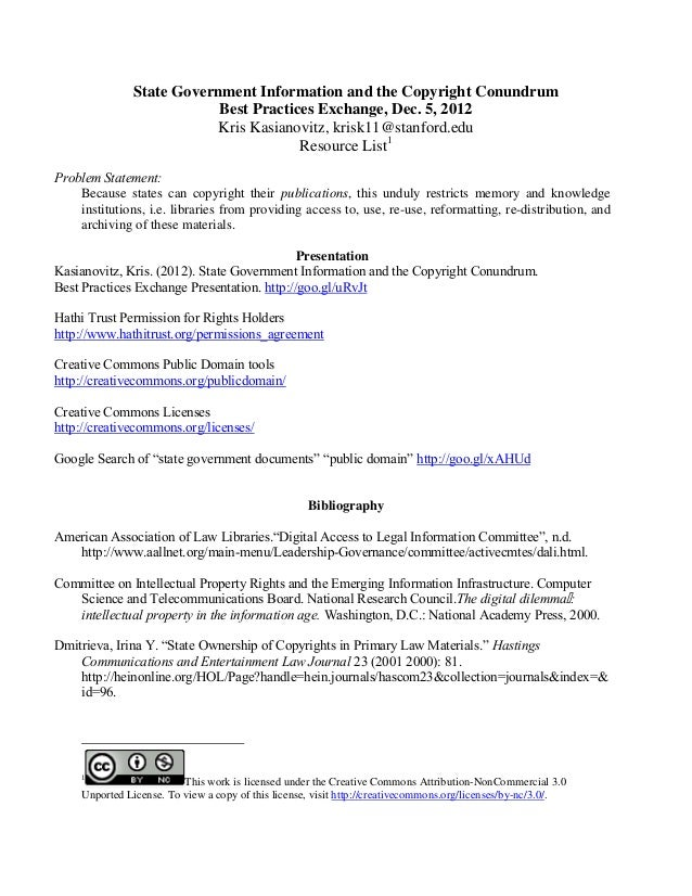 State Government Information and the Copyright Conundrum                           Best Practices Exchange, Dec. 5, 2012  ...