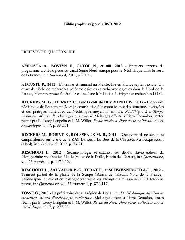 Bibliographie régionale BSR 2012 PRÉHISTOIRE QUATERNAIRE AMPOSTA A., BOSTYN F., CAYOL N., et alii, 2012 - Premiers apports...