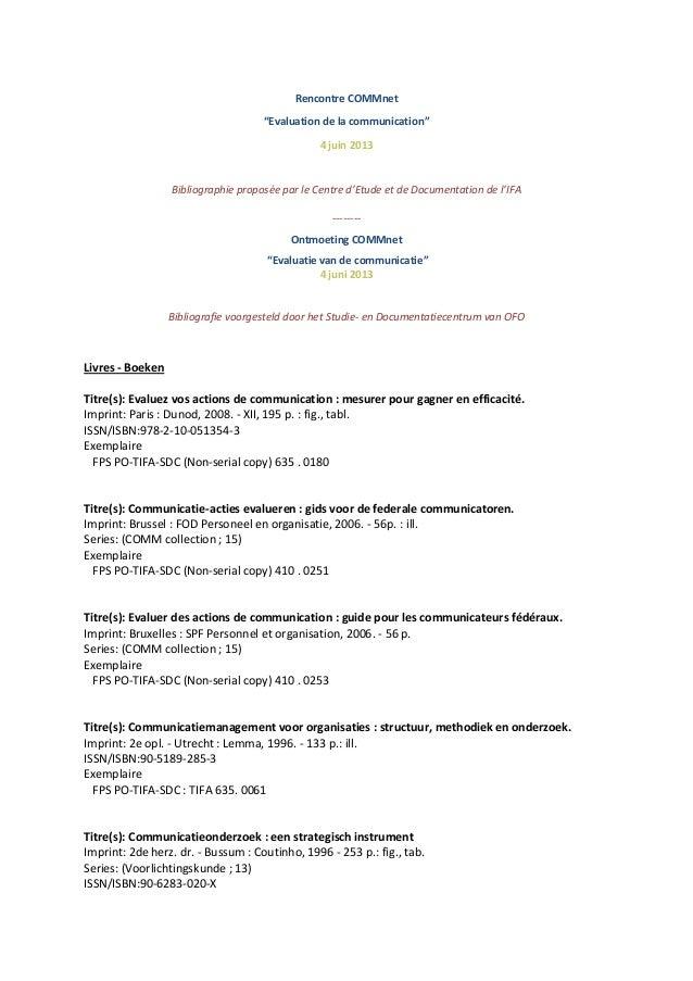 """Rencontre COMMnet""""Evaluation de la communication""""4 juin 2013Bibliographie proposée par le Centre d'Etude et de Documentati..."""