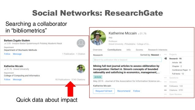 """Social Networks: ResearchGate Searching a collaborator in """"bibliometrics"""" Quick data about impact"""