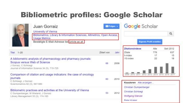 Bibliometric profiles: Google Scholar