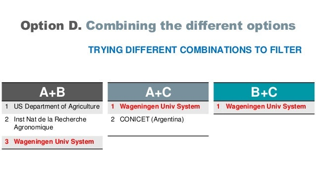 Option D. Combining the different options TRYING DIFFERENT COMBINATIONS TO FILTER A+B 1 US Department of Agriculture 2 Ins...