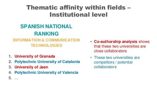 SPANISH NATIONAL RANKING INFORMATION & COMMUNICATION TECHNOLOGIES 1. University of Granada 2. Polytechnic University of Ca...