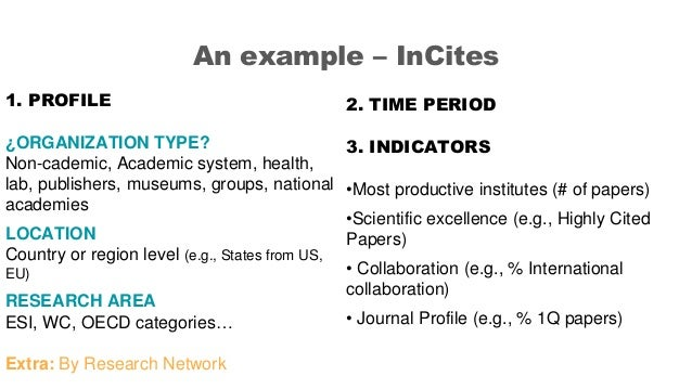 An example – InCites 1. PROFILE ¿ORGANIZATION TYPE? Non-cademic, Academic system, health, lab, publishers, museums, groups...