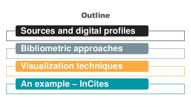 Outline Sources and digital profiles Bibliometric approaches Visualization techniques An example – InCites
