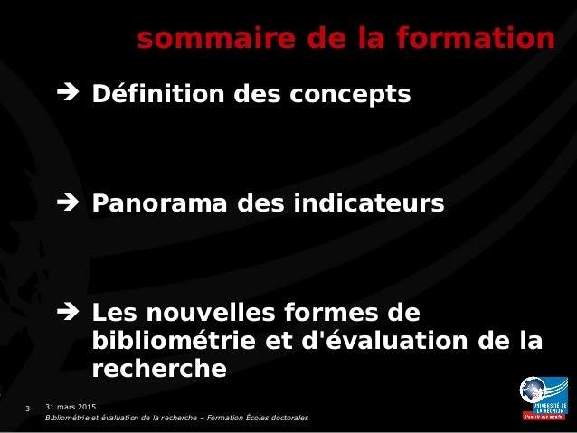 Bibliométrie : panorama, critiques, perspectives Slide 3