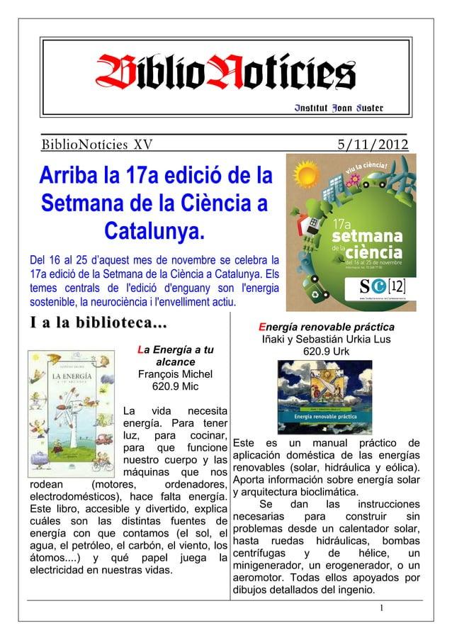 BiblioNotícies                                Institut Joan Fuster  BiblioNotícies XV                                     ...