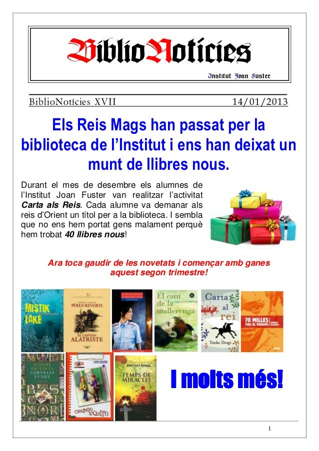 BiblioNotícies                            Institut Joan Fuster  BiblioNotícies XVII                                       ...