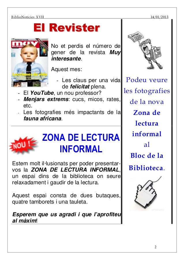 BiblBiBiblioNotíci es XVII                                          14 /01/2013                   El Revister             ...