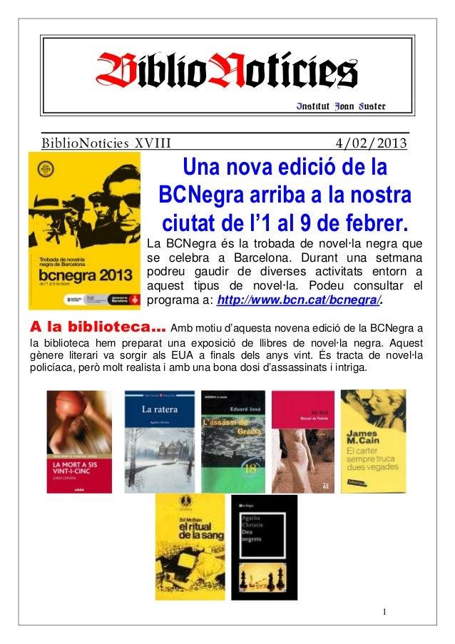 BiblioNotícies                           Institut Joan Fuster  BiblioNotícies XVIII                                       ...