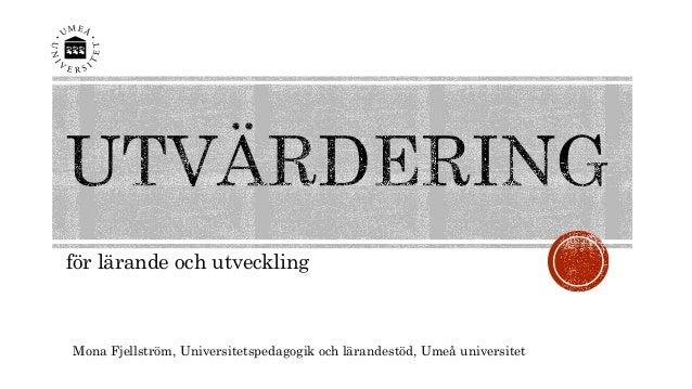 för lärande och utveckling  Mona Fjellström, Universitetspedagogik och lärandestöd, Umeå universitet