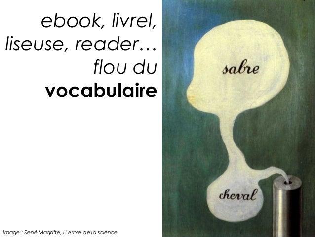 ebook, livrel,liseuse, reader…           flou du     vocabulaireImage : René Magritte, L'Arbre de la science.