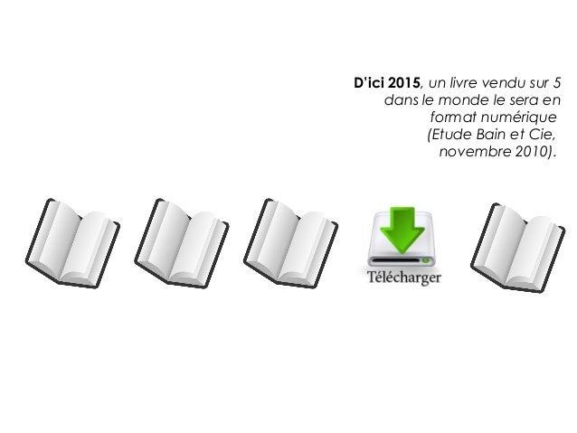 D'ici 2015, un livre vendu sur 5     dans le monde le sera en             format numérique            (Etude Bain et Cie, ...