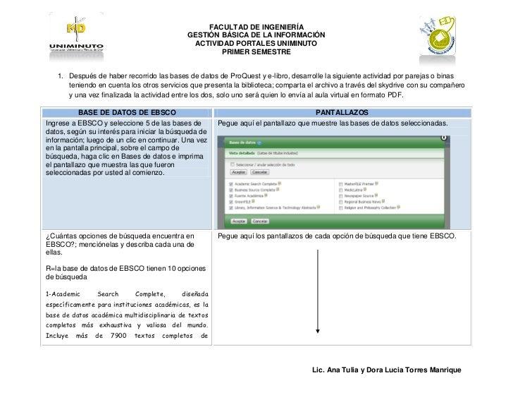 FACULTAD DE INGENIERÍA                                             GESTIÓN BÁSICA DE LA INFORMACIÓN                       ...