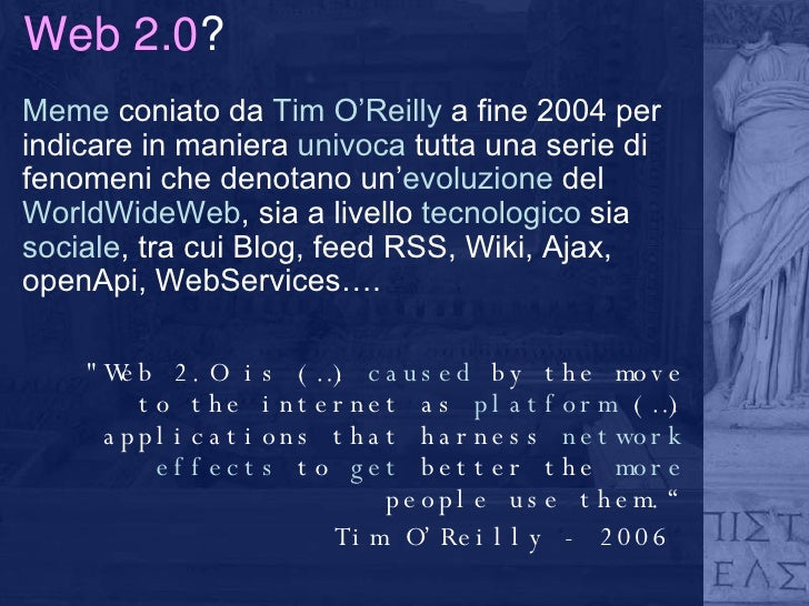 Biblioteca 2.0: verso un information network partecipato Slide 2