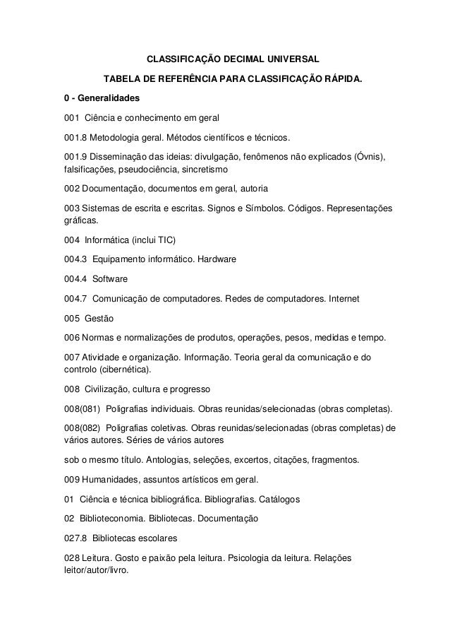 CLASSIFICAÇÃO DECIMAL UNIVERSAL          TABELA DE REFERÊNCIA PARA CLASSIFICAÇÃO RÁPIDA.0 - Generalidades001 Ciência e con...