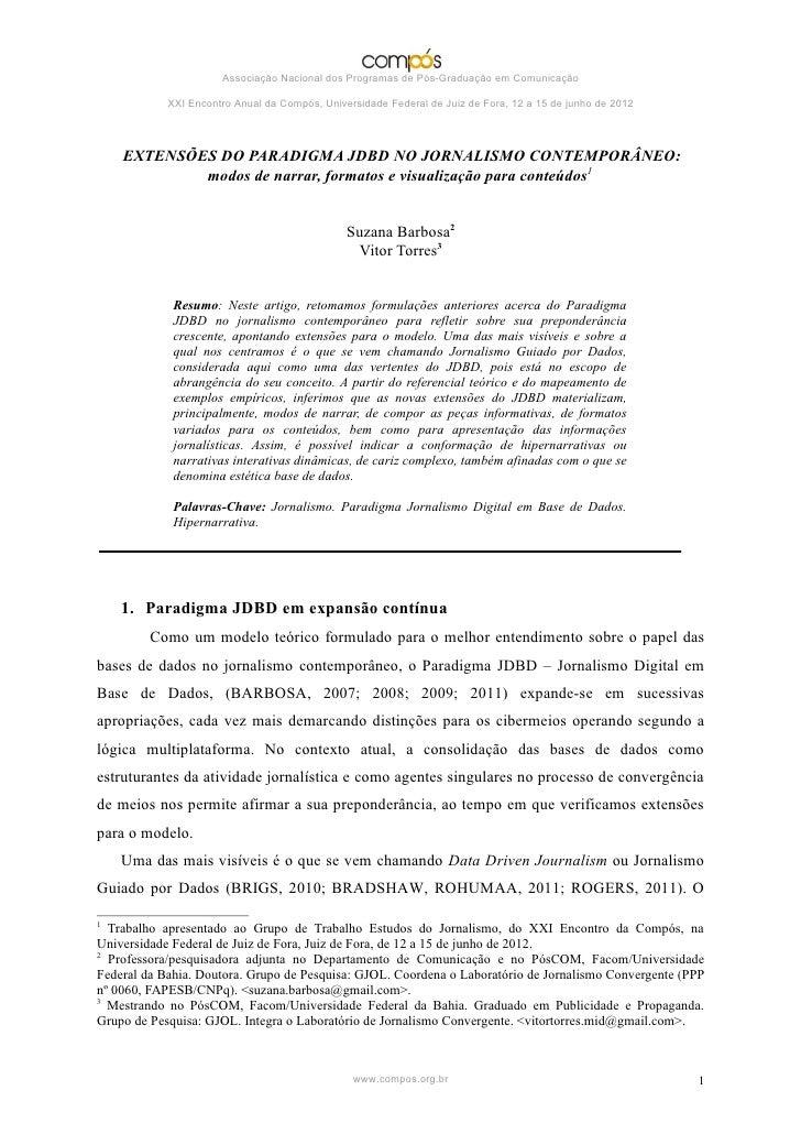 Associação Nacional dos Programas de Pós-Graduação em Comunicação            XXI Encontro Anual da Compós, Universidade Fe...