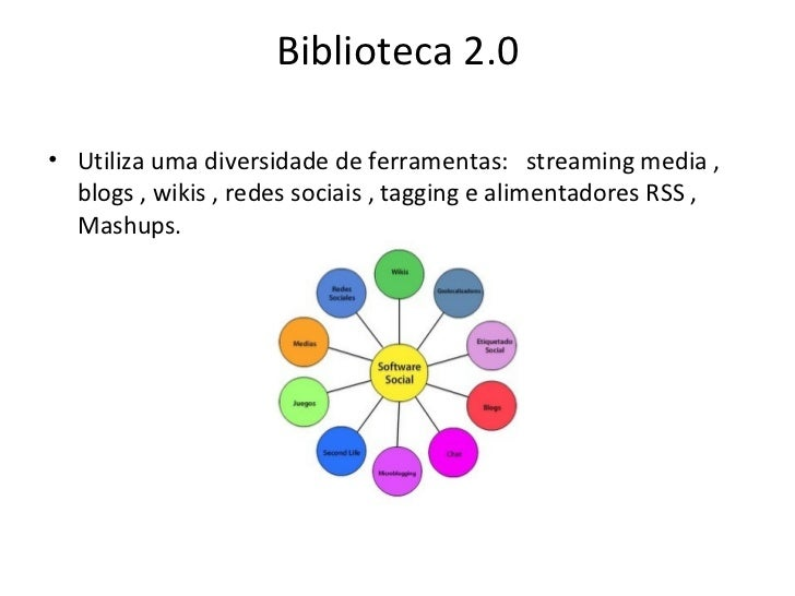 Biblioteca 2.0 <ul><li>Utiliza uma diversidade deferramentas:  streaming media , blogs , wikis , redes sociais , tagging...